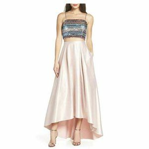 Sequin Hearts 5 Blush 2 Pc Satin Gown NWT AL75-6